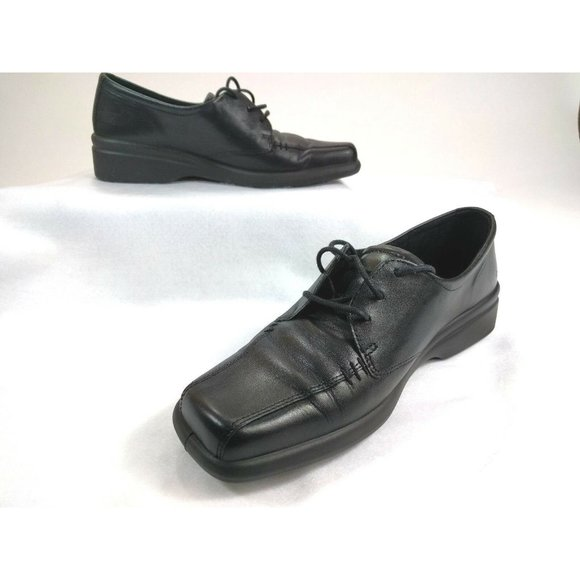 Ecco Black Leather Bicycle Toe Casual Oxfords 8
